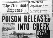 Front page story of The Armidale Express, 15 December 1976, concerning pollution from the site