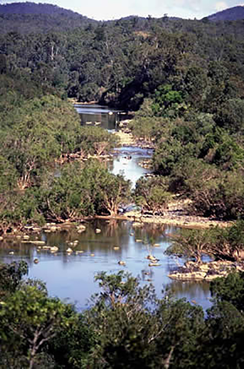 Part of the Burnett River flooded by construction of the Paradise Dam