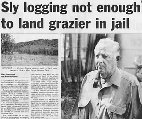 "Cover of the Courier Mail from October 2005 with headline reading ""Sly logging not enough to land grazier in jail"""