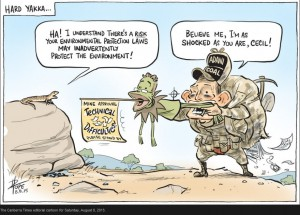 David Pope cartoon portraying a yakka skink interacting with Tony Abbott and Greg Hunt