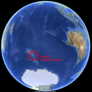 GoogleEarth image showing the remote location of Heard & McDonald Islands, 4000km SW of Perth
