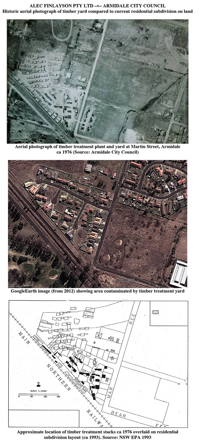 Historic aerial photograph of timber yard compared with current residential subdivision on land