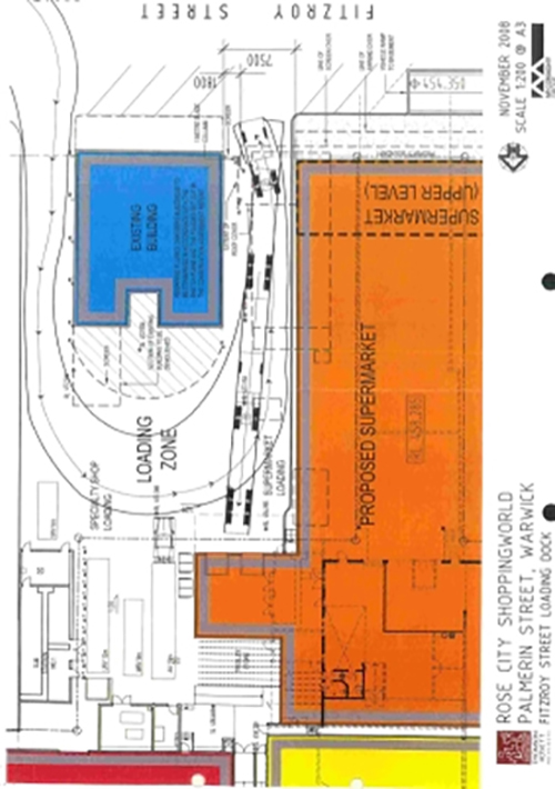 Plan of proposed demolition of Plumb's Chambers to facilitate the extension of the adjacent shopping centre