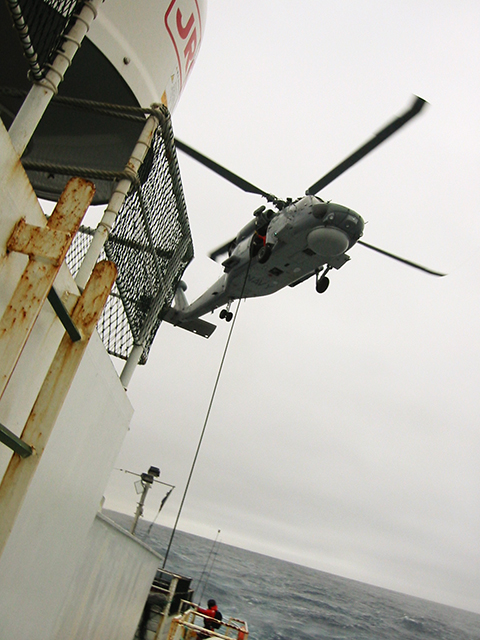Australian naval helicopter above the Volga