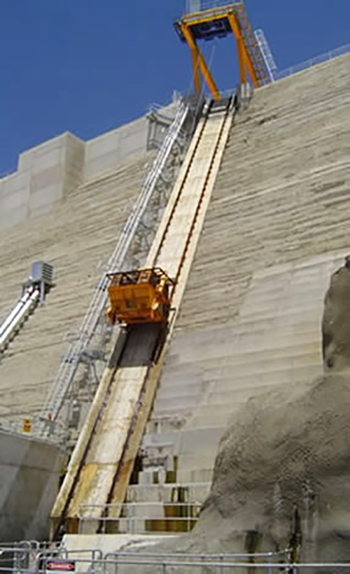 Upstream fishlift shown ascending dam wall during initial operation in 2006