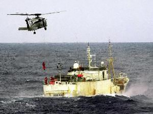 Members of the Australian navy fastrapel from a helicopter launched from HMAS Canberra to arrest the Volga